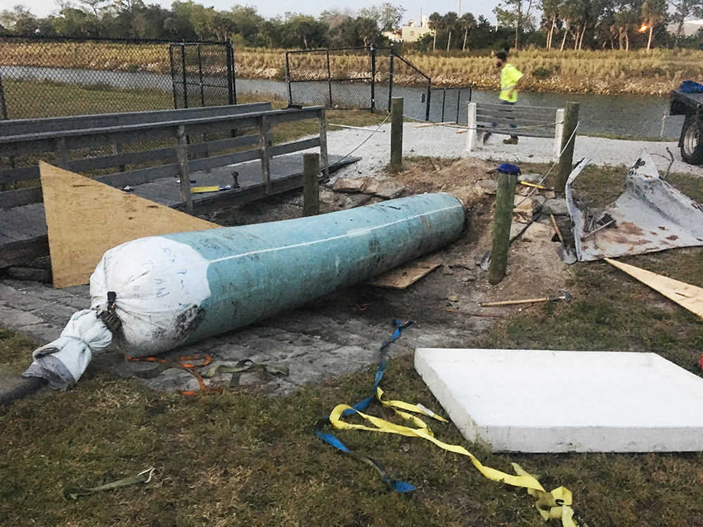 "We installed this massive 30"" storm drain in a local mobile home park."